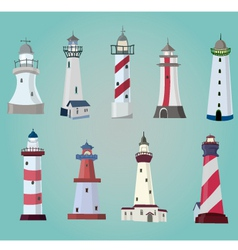 set of cartoon lighthouses Flat icons vector image vector image