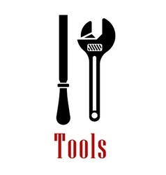 Adjustable wrench and rasp black icon vector image