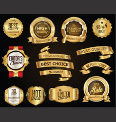 retro golden ribbons and labels collection vector image vector image
