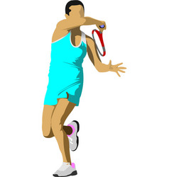 tennis player colored for designers vector image vector image