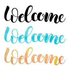 welcome isolated handmade watercolor lettering vector image