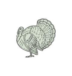 Wild Turkey Side Mono Line vector image vector image