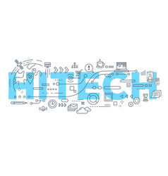 Creative of hitech word lettering vector