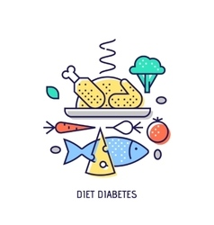 Diet diabets thin line icon vector image