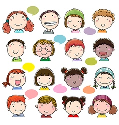Hand drawn children faces set vector image vector image