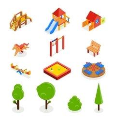 Kids isometric 3D playground icon set vector image vector image