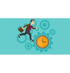 Running man on clock background vector image vector image