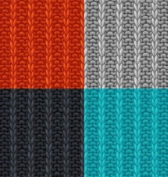 set of seamless patterns in knitting style vector image vector image