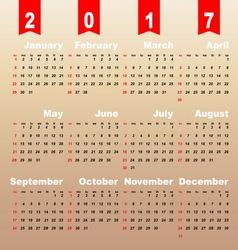 2017 calendar on brown gradient background vector image