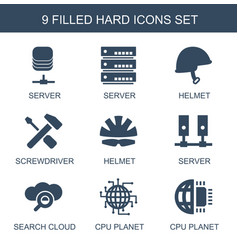 9 hard icons vector image