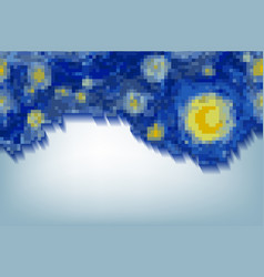 abstract pixel art blue background van gogh style vector image