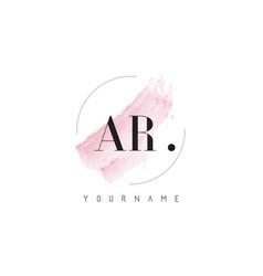 ar watercolor letter logo design with circular vector image