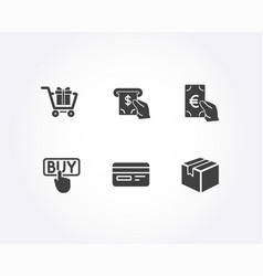 atm service buying and shopping cart icons vector image