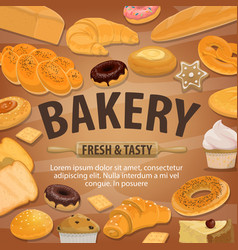 bakery and pastry shop bread sweets vector image