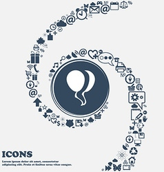 Balloon Icon in the center Around the many vector image