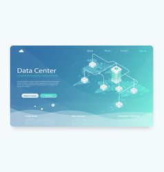big modern data center server room vector image