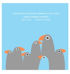 Birth announcement with funny birds vector