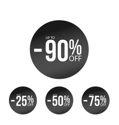 black discount stickers set with sale percents vector image