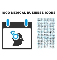 Brain Gears Calendar Day Icon With 1000 Medical vector