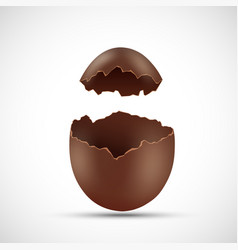 broken open chocolate egg isolated on white vector image