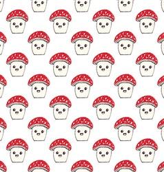 Cartoon Cute Mushroom Seamless Pattern vector image