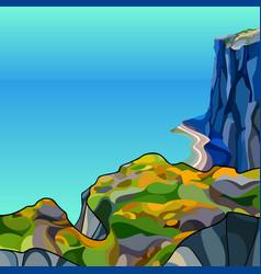 cartoon landscape steep high rocky coast near vector image