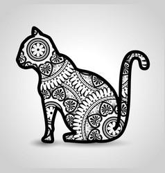 cat mandala boho style vector image