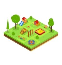 Children playground in isometric flat style vector