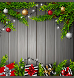 christmas gift boxes with christmas balls vector image