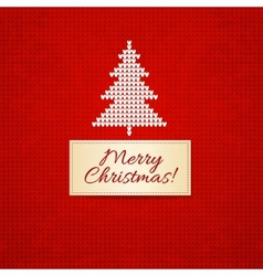 Christmas knitting background with christmas tree vector