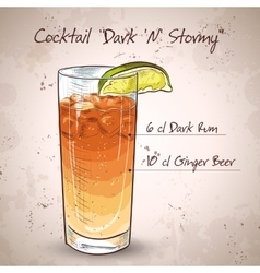 Cocktail Dark and Stormy vector image
