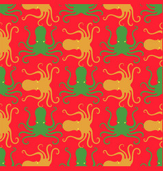 colorful octopus icon seamless pattern stilized vector image