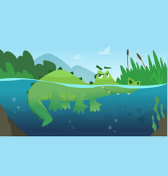 Crocodile in water alligator amphibian reptile vector