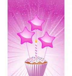 cupcake and candle vector image