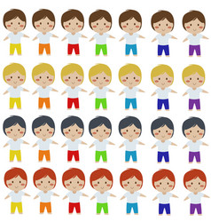 Cute colorful boy cartoon clipart vector