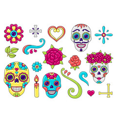 day dead items set sugar skulls with vector image