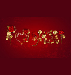 Declaration love from red roses vector