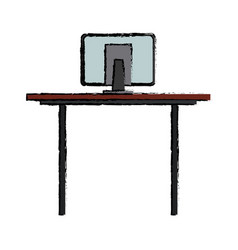 Desk computer office work equipment objects vector