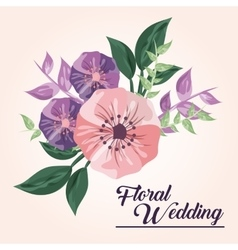 Drawing flower icon Floral wedding design vector image