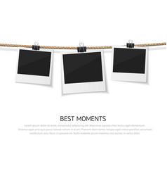 Enjoy every moment set polaroid photo vector