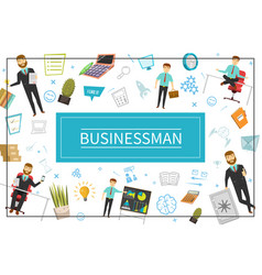 Flat businessman elements concept vector