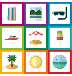 Flat icon summer set of coconut parasol sundae vector
