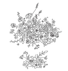 Flower composition decorative element line art vector