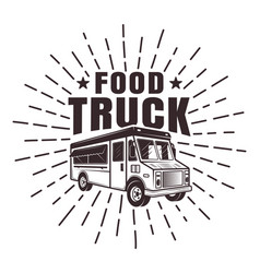 Food truck stamp or label with rays vector