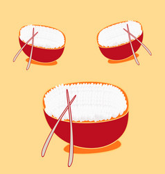 Fried rice in bowl with chopsticks flat design vector