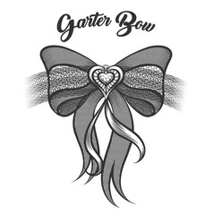 Garter bow in tattoo style vector