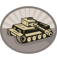 German panzer battle tank aiming cannon vector