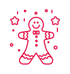 gingerbread man with decorative icing and stars vector image