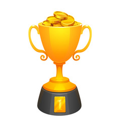 gold cup trophy award with gold and base vector image