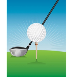 Golf Ball Teed and Driver vector